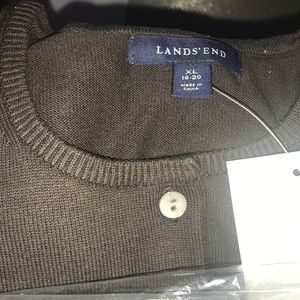 Land's End Classic Cotton Cardigan Spice Brown NEW